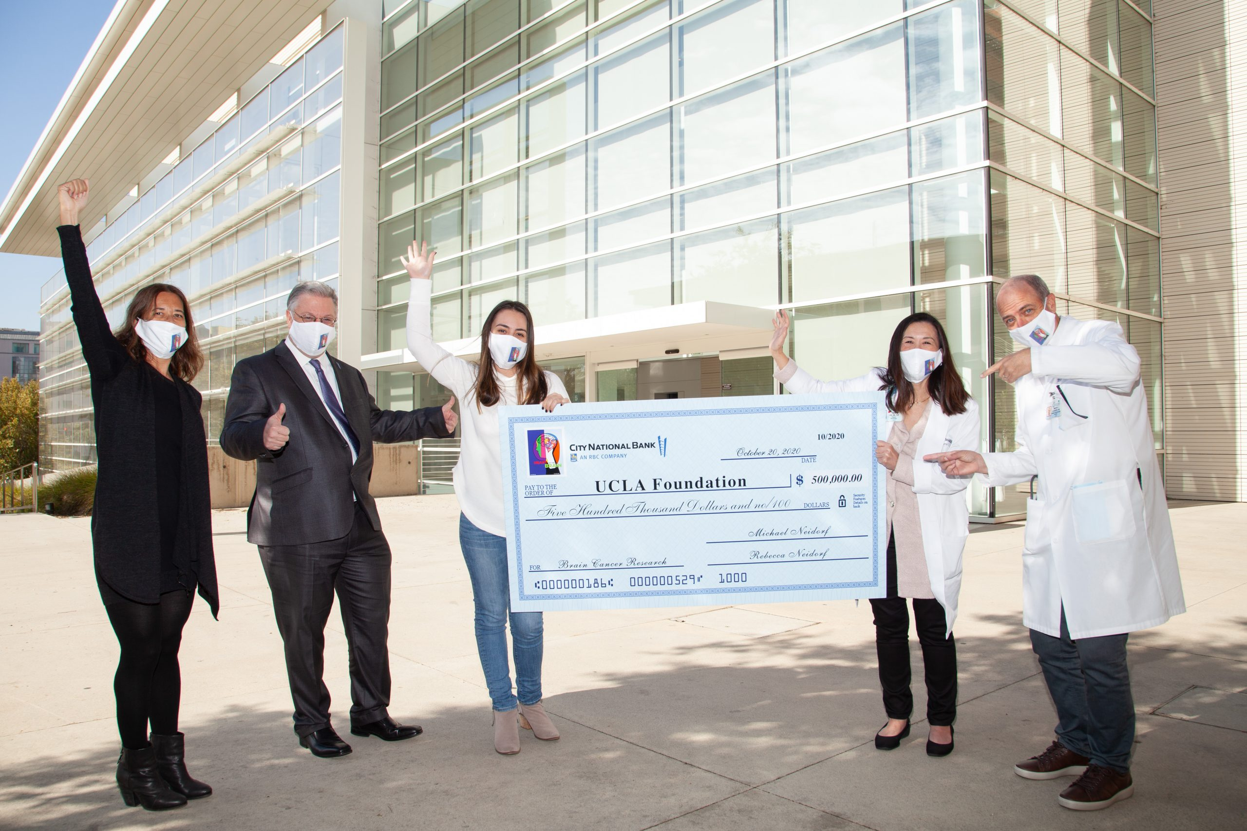 Heart of The Brain Presents $500,000 Donation to UCLA Brain Tumor Center